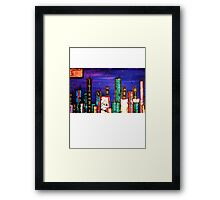 meanwhile in the city Framed Print