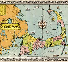 Vintage Map of Cape Cod by BravuraMedia