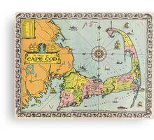 Vintage Map of Cape Cod Metal Print