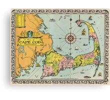 Vintage Map of Cape Cod Canvas Print
