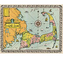 Vintage Map of Cape Cod Photographic Print