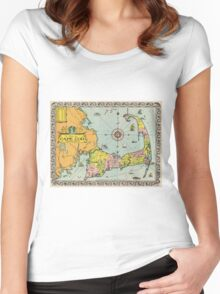 Vintage Map of Cape Cod Women's Fitted Scoop T-Shirt
