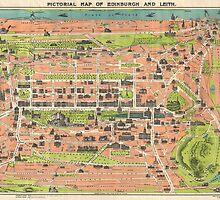 Vintage Map of Edinburgh Scotland (1935) by BravuraMedia