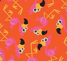 Cute Flamingo Orange by WaggSwagg