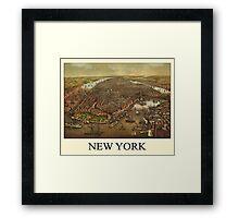 Vintage Historic New York Map 1873 Framed Print
