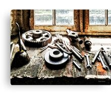 Gears and Wrenches in Machine Shop Canvas Print