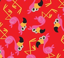 Cute Flamingo Red by WaggSwagg