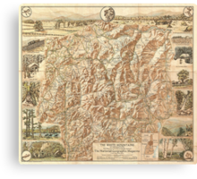 Vintage Map of The White Mountains (1937) Canvas Print