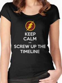 Keep calm and screw up the timeline Women's Fitted Scoop T-Shirt