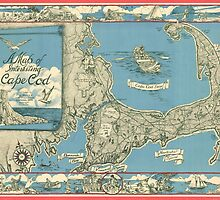 Vintage Map of Cape Cod (1945)  by BravuraMedia