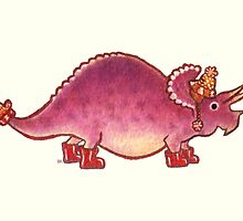 Pink Triceratops Derposaur with Wellies by Madison Russell