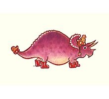 Pink Triceratops Derposaur with Wellies Photographic Print