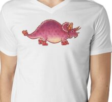 Pink Triceratops Derposaur with Wellies Mens V-Neck T-Shirt