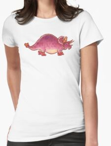 Pink Triceratops Derposaur with Wellies Womens Fitted T-Shirt