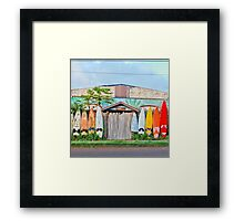 Paia Surfboard Fence with Bamboo Framed Print