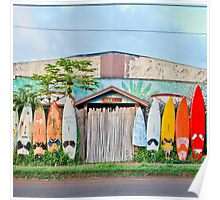 Paia Surfboard Fence with Bamboo Poster