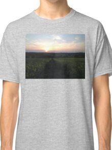 Sunset On A Field Of Flowers Classic T-Shirt