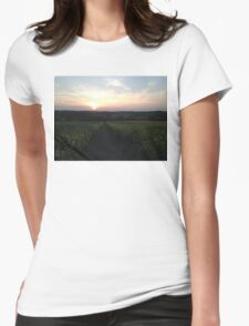 Sunset On A Field Of Flowers Womens Fitted T-Shirt