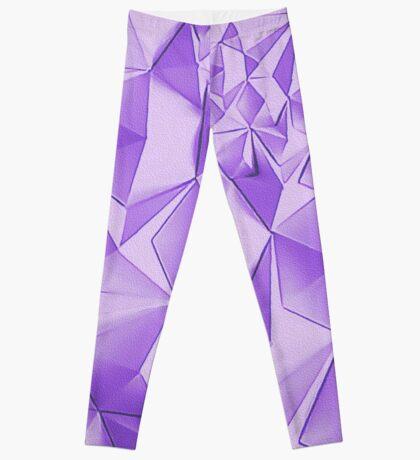 Purple fractals pattern, triangles, geometric Leggings