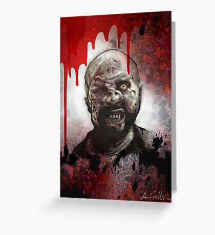 Blood Splatter Zombie Greeting Card
