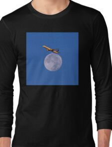 Sunrise Flight Over Full Moon Long Sleeve T-Shirt