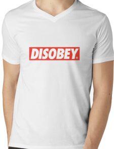 DISOBEY. Mens V-Neck T-Shirt