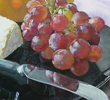 Grapes, Cheese, and knife still life by Jane Ianniello