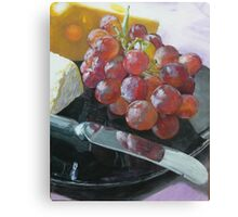 Grapes, Cheese, and knife still life Canvas Print