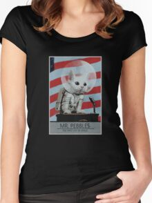 Mr Pebbles T-shirt - The first cat in space Women's Fitted Scoop T-Shirt