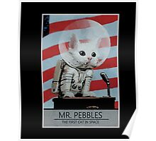 Mr Pebbles T-shirt - The first cat in space Poster