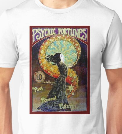 PSYCHIC FORTUNES; Vintage Fortune Teller Advertising Print Unisex T-Shirt