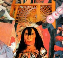 Red Indian with Artists Work. Sticker