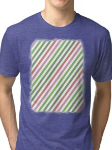 Pink Roses in Anzures 3 Stripes 1B Tri-blend T-Shirt