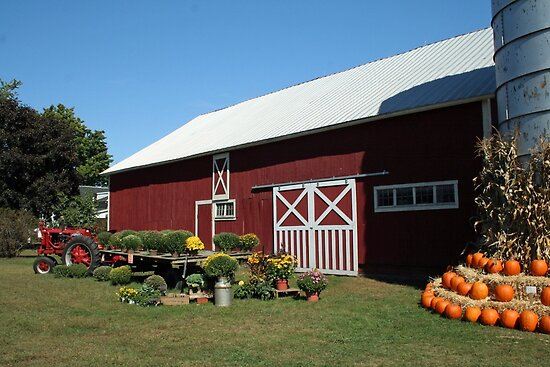 Red Barn at Harvest Time, 252 views! by Linda Jackson