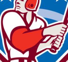 American Baseball Batter Hitter Bat Diamond Retro Sticker