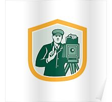 Photographer Shooting Vintage Camera Shield Retro Poster