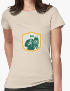 Photographer Shooting Vintage Camera Shield Retro Womens Fitted T-Shirt