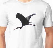 Great Blue Heron Flying Past the Clouds Above Trojan Pond 6 Unisex T-Shirt
