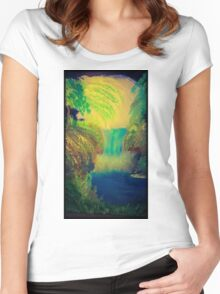 midnight waterfall Women's Fitted Scoop T-Shirt