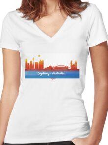 iconic Sydney Australia Women's Fitted V-Neck T-Shirt