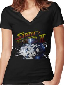 Street Fighter 2 - Ryu Hudouken Women's Fitted V-Neck T-Shirt