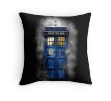 Haunted blue phone booth Throw Pillow