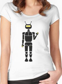 Waving Robot Silhouette Women's Fitted Scoop T-Shirt