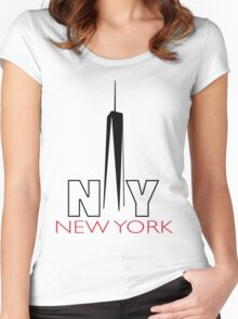 New York City NEW One World Trade Center Women's Fitted Scoop T-Shirt