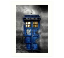 Haunted blue phone booth Art Print