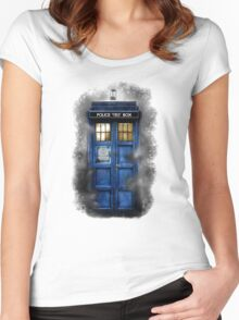 Haunted blue phone booth Women's Fitted Scoop T-Shirt