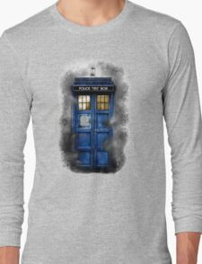 Haunted blue phone booth Long Sleeve T-Shirt