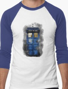 Haunted blue phone booth Men's Baseball ¾ T-Shirt