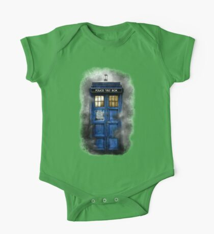 Haunted blue phone booth One Piece - Short Sleeve