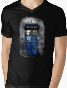 Haunted blue phone booth Mens V-Neck T-Shirt